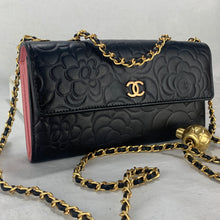 Load image into Gallery viewer, CHANEL Camellia Wallet on Adjustable Gold Micro Chain