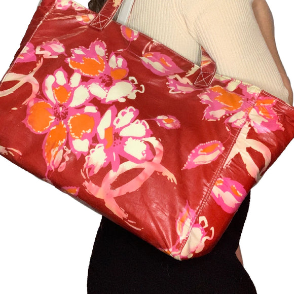 CHANEL Red Floral Tote