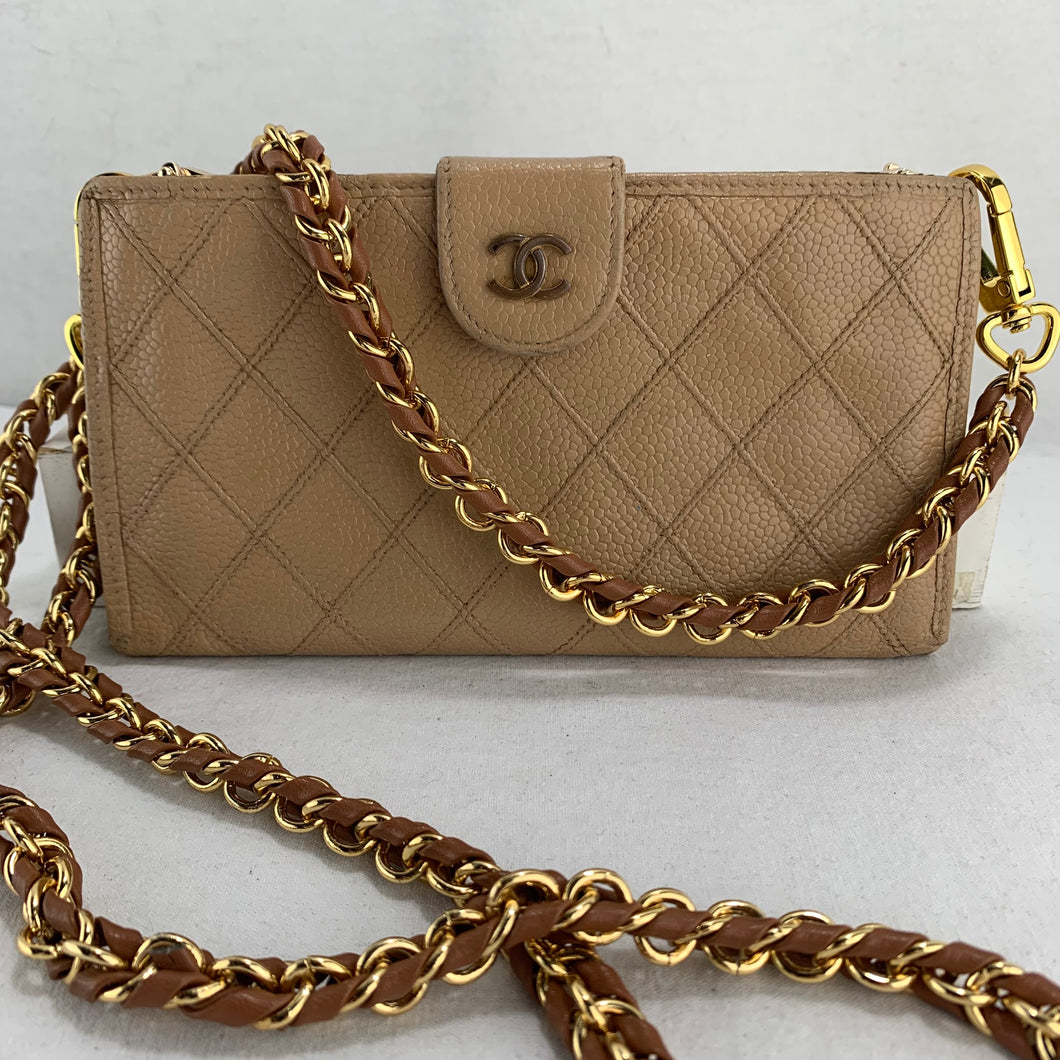 CHANEL Wild Stitch Caviar Leather Wallet on Braided Chain