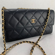 Load image into Gallery viewer, Timeless CHANEL Matelasse Wallet on Gold Micro Chain