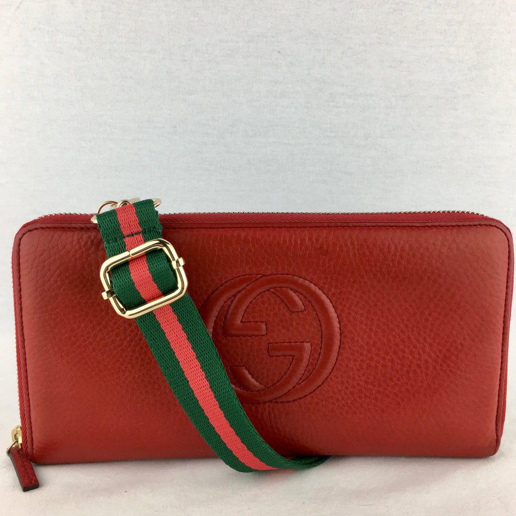 GUCCI Leather Soho Organizer with Two Straps