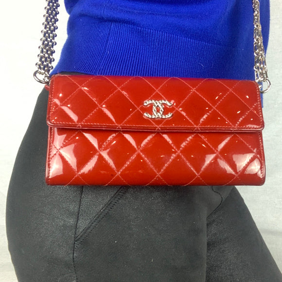 CHANEL Red Patent Flap Wallet on Mademoiselle Chain