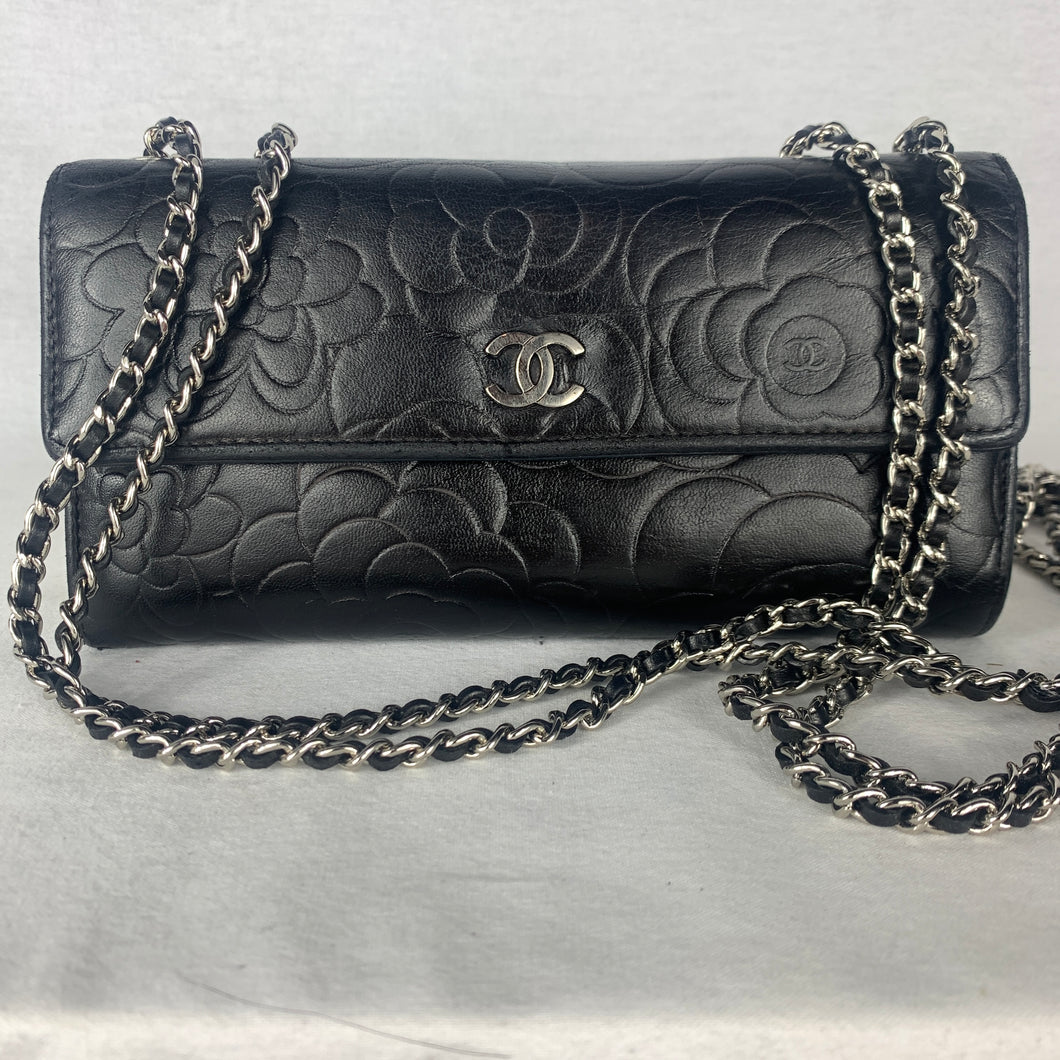 CHANEL Camellia Flap Wallet on Micro Chain