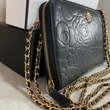 CHANEL Large Camellia Zip Wallet on Micro Chain