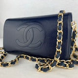 CHANEL Navy CC Stitch Wallet on Chain
