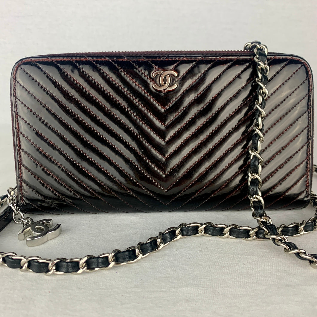 CHANEL Patent Chevron Zip Wallet with Micro Chain