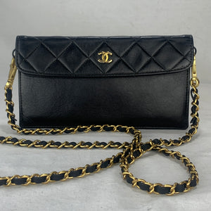 CHANEL Black Classic Flap Pouch on Chain