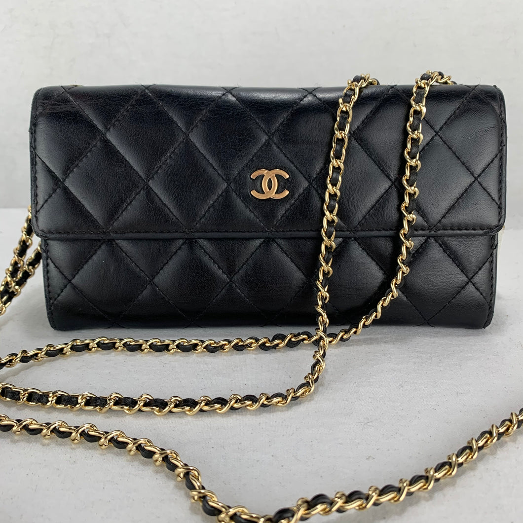 Timeless CHANEL Matelasse Wallet on Double Gold Micro Chain