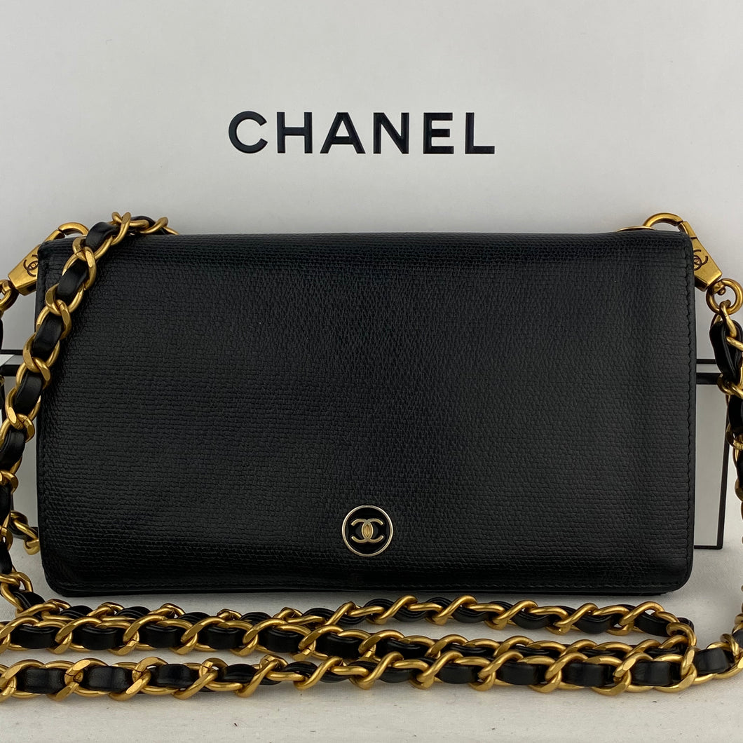 CHANEL CC Button Leather Wallet on Leather Chain