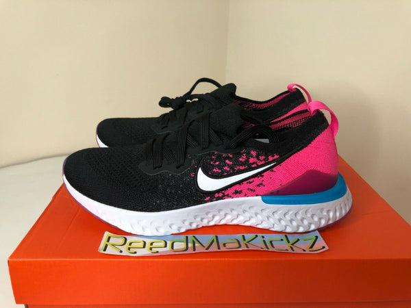 Nike Epic React Flyknit 2 Black Pink Blast Grade School Youth Sizes AQ3243 016