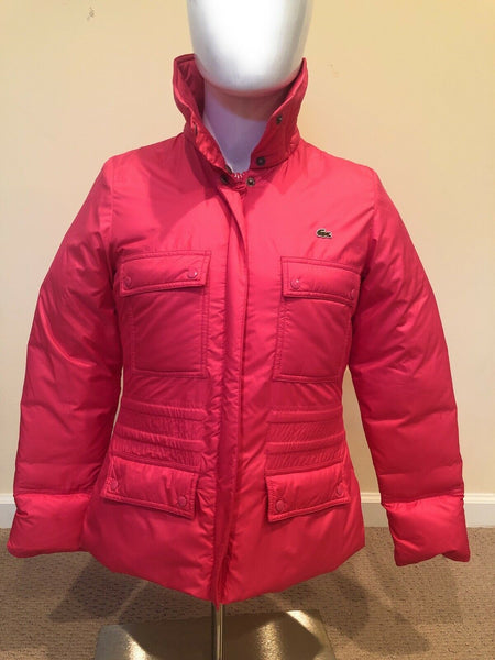 Lacoste Zip Up Down Jacket Pink Womens size 38