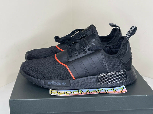Adidas NMD R1 Black Solar Red PRE OWNED Mens sizes EE5085