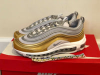 Nike Air Max 97 SE Vast Grey Metallic Silver Gold womens sizes AQ4137 001