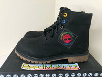 Timberland 6 inch Premium Boots Black Patch Logo Kids Youth Junior TB0A2A75 001