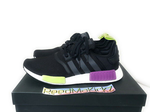 Adidas NMD R1 Black Shock Purple Mens sizes D96627