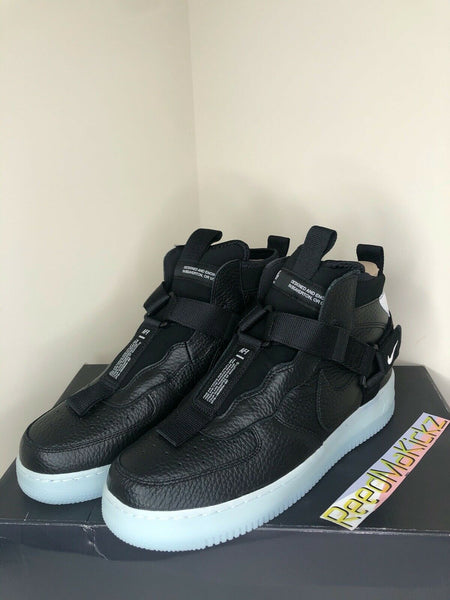 Nike Air Force 1 Utility Mid Black Half Blue Mens sizes AQ9758 001
