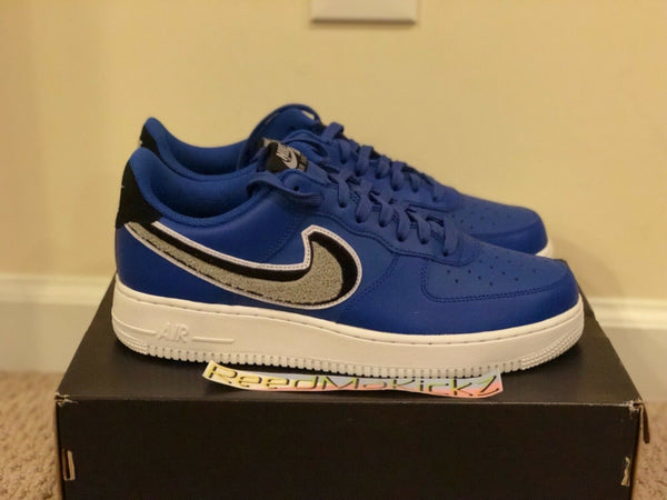 Nike Air Force 1 Low '07 LV8 Chenille Swoosh Game Royal Mens sizes 823511 409