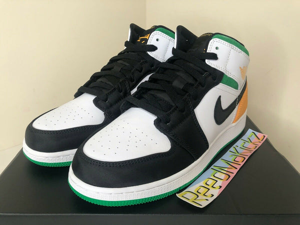 Nike Air Jordan 1 MID SE White Green Laser Orange Grade School Youth BQ6931 101