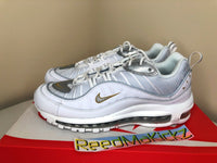 "Nike Air Max 98 White Metallic Gold ""Blue Chill"" Womens CT2547 100"