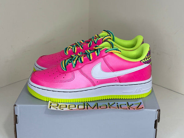Nike Air Force 1 Low Pink Blast White Volt Grade School Youth CW5761 600