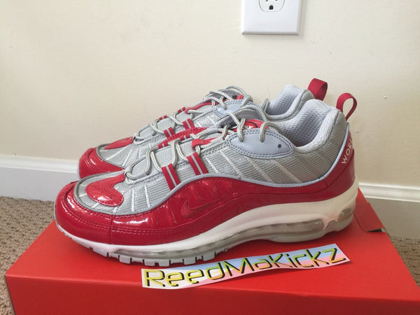 Nike Air Max 98 Supreme Varsity Red silver Mens sizes 844694 600