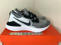 Nike Epic React Flyknit 2 Oreo White Pure Platinum Mens BQ8928 101