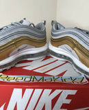 Nike Air Max 97 SE Vast Grey Metallic Silver Gold womens PRE OWNED AQ4137 001