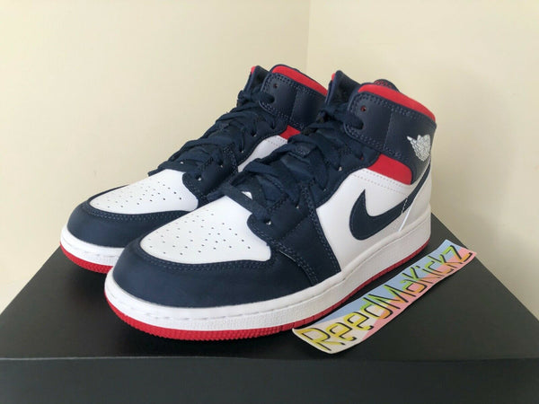 Nike Air Jordan 1 MID SE White Blue Red USA Grade School Youth BQ6931 104
