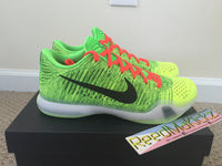 Nike Kobe 10 X Elite Low I.D Coal Hearted Grinch Glow in the dark sole size 11us