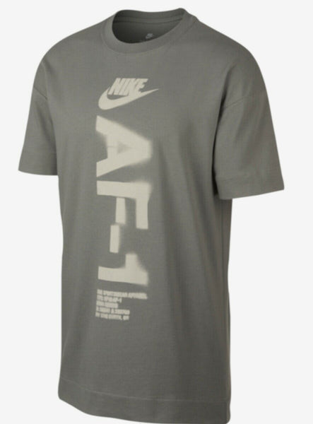 Nike AF1 Air Force 1 T Shirt Oversized Dark Stucco Mens AH4066 004 Retail $40