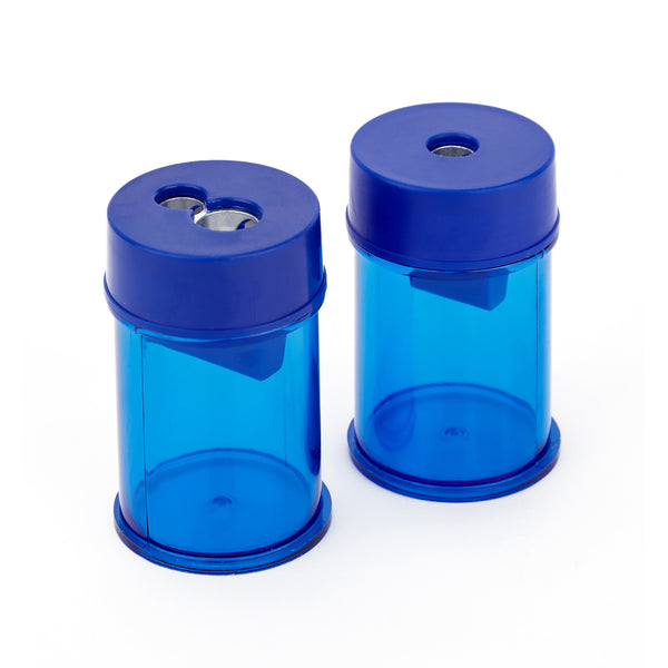 PENCIL SHARPENERS, CANISTER MODELS, Round Plastic, Single Hole, 8mm hole, Pack of 10