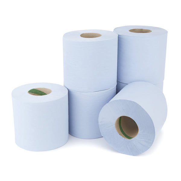 BLUE CENTREFEED ROLLS, 1 Ply, Case of 6 Rolls
