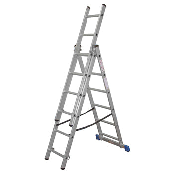 TRADE COMBINATION LADDERS : CERTIFIED EN131, 3 Section Push Up, 8 Rungs per Section, Each