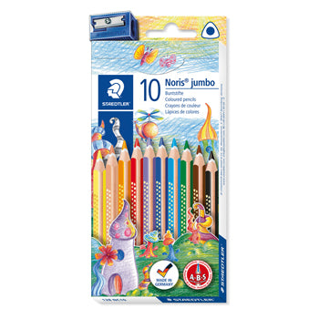 PENCILS, COLOURED, TRIANGULAR, STAEDTLER(R) Noris(R) Triplus Jumbo, With Sharpener, Pack of 10