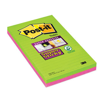 POST-IT(R) SUPER STICKY LARGE FORMAT NOTES, Ultra Colours Lined XXXL, 127 x 203mm, Pack of 4