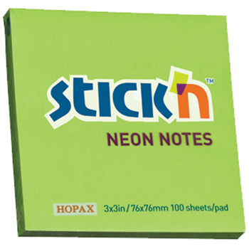 REPOSITIONAL NOTES, STICK 'N NOTES, Neon Green, 76 x 76mm, Pack of 6
