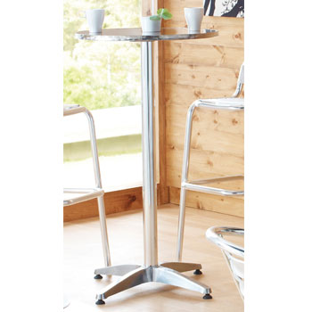 ALUMINIUM CAFE FURNITURE, PEDESTAL TABLES, Poseur, 600mm dia. x 1120mm height