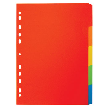 MULTI-PUNCHED TABBED DIVIDERS FOR BINDERS AND FILES, CARD, COLOURED TABS, 5 Positions, Bright Colours, (A4) 224 x 297mm, Box of 20 sets of 5