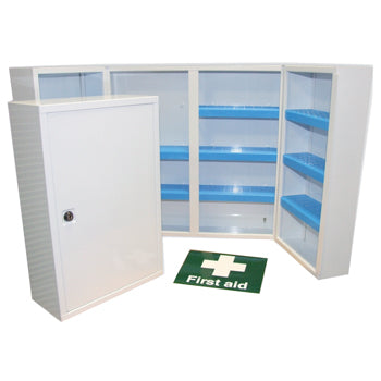 FIRST AID LOCKABLE METAL CABINET - WHITE, Double Doors, 530 x 530 x 200mm, Each