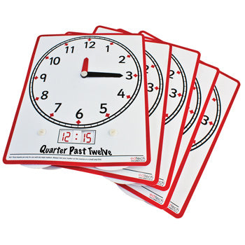TEACHING CLOCKS, Write 'n' Wipe Clock Wheel, Pack of 5