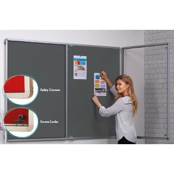FLAMESHIELD(R) TRICORD HESSIAN NOTICEBOARDS, Tamperproof, Side Hinged Doors, Double Door - 2400 x 1200mm height, Natural