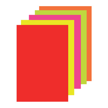 PAPER, COPIER, PAPER SHEETS, Fluorescent Paper Assorted, Pack of 100 sheets