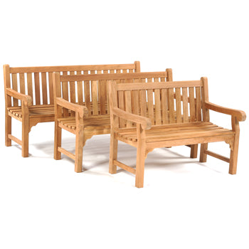 LEISURE BENCH, TEAK FURNITURE, Queensbury Bench, 2 Seater, Length 1200mm, Each