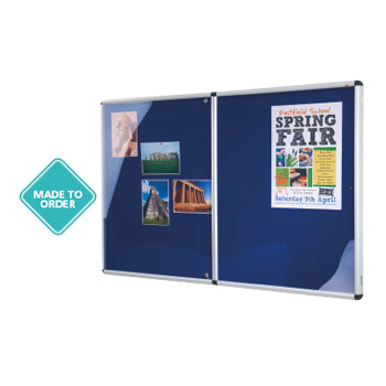SHIELD(R) ALUMINIUM FRAME ECO-COLOUR(R) NOTICEBOARDS, Tamperproof, Double Door - 800 x 1200mm height, Blue