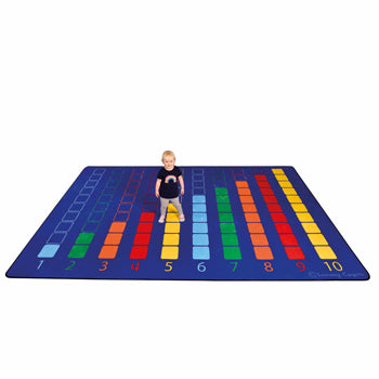 LEARNING RUGS, CHILDREN'S CUT PILE RUGS, Large Counting Colour Grid Rectangular, Rectangular, 2570 x 3600mm, Each