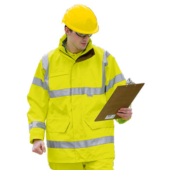 HIGH VISIBILITY WEAR, Unisex Waterproof Breathable Jacket, Medium 38'', Each