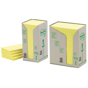 POST-IT(R) RECYCLED NOTES, Canary(TM) Yellow, Towers, 76 x 76mm, Pack of 16