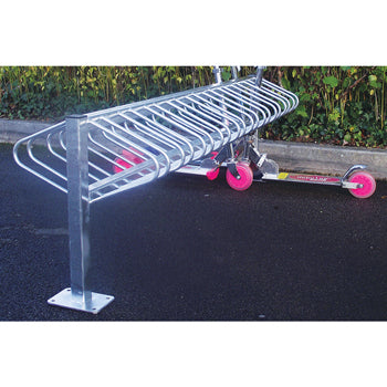 SCHOOL SCOOTER RACKS, Double-sided, Floor Mounted, Starter Rack, 24 scooter 1.8m width, Each