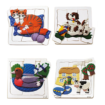 PUZZLES, FIRST ANIMAL PUZZLES, Age 1+, Set of 4