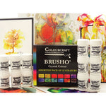 WATERCOLOUR POWDERS, BRUSHO(R) WATERCOLOUR INK POWDER, Introductory Pack, Assorted, Pack of 12  x 15g